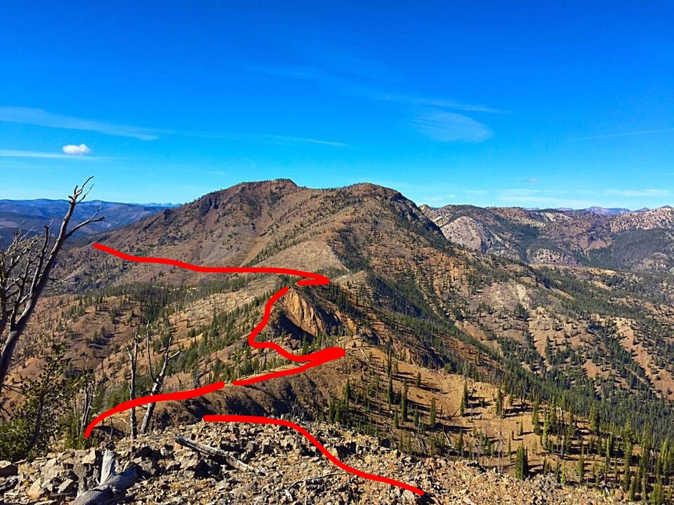 The approximate line of our hike showing much of the ridge walk and the traverse across Murphy Peak.