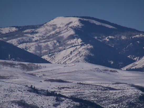 East aspect of Draney Peak. In foreground is Tygee Ridge on the Idaho-Wyoming line. Rick Baugher Photo 1/20/14