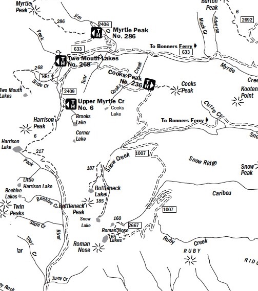 This Forest Service map will help orientate you for the approach. Use a Panhandle NF a map and a USGS topo for the hike.