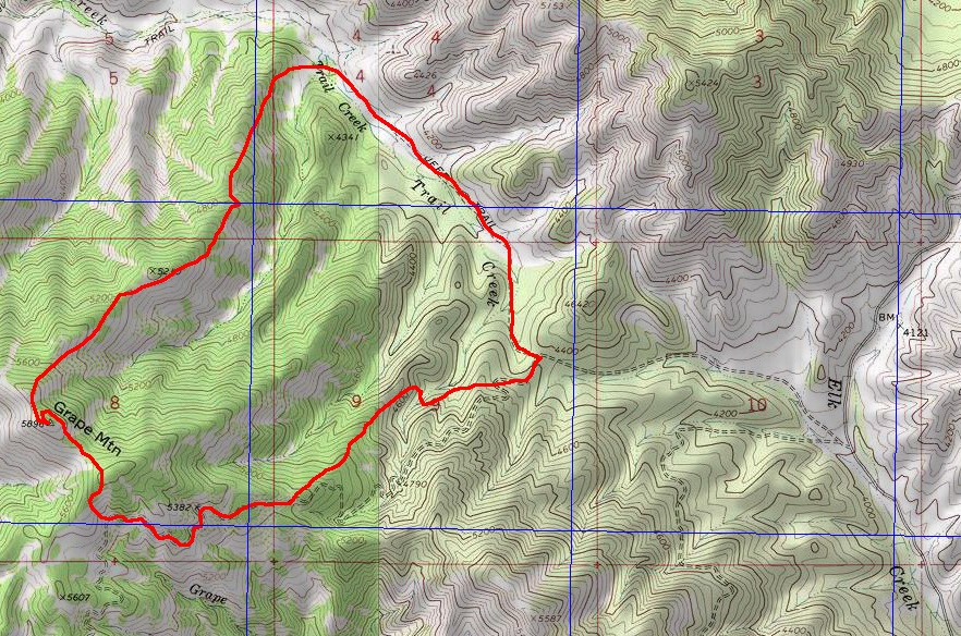Grape Mountain route. John Platt Map