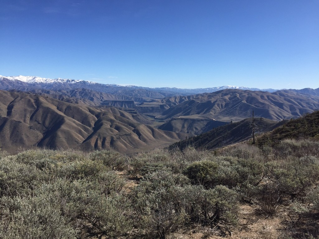 The views from the summit are big in every direction but the view into the South Fork Boise River Canyon is the view of the day.