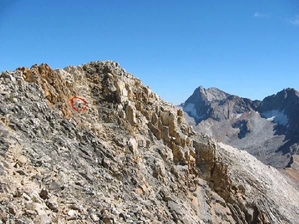 The summit of the Devils Bedstead West. Julie Platt is in the red circle. john Platt Photo