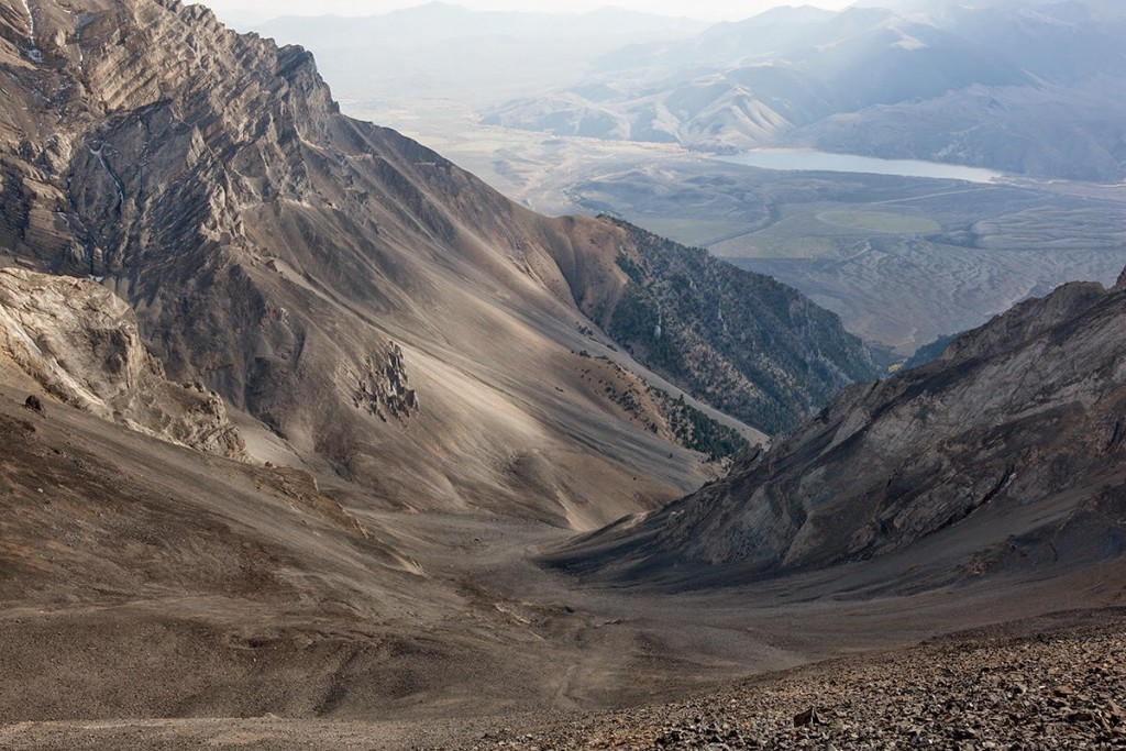 Looking down Pete Creek from the saddle on the peak's south ridge. Photo - Larry Prescott