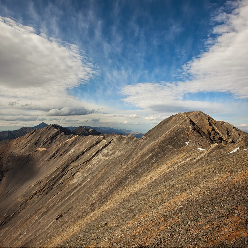 Looking from the saddle to the summit. No Regret Peak is the peak farther along the ridge. Photo - Larry Prescott
