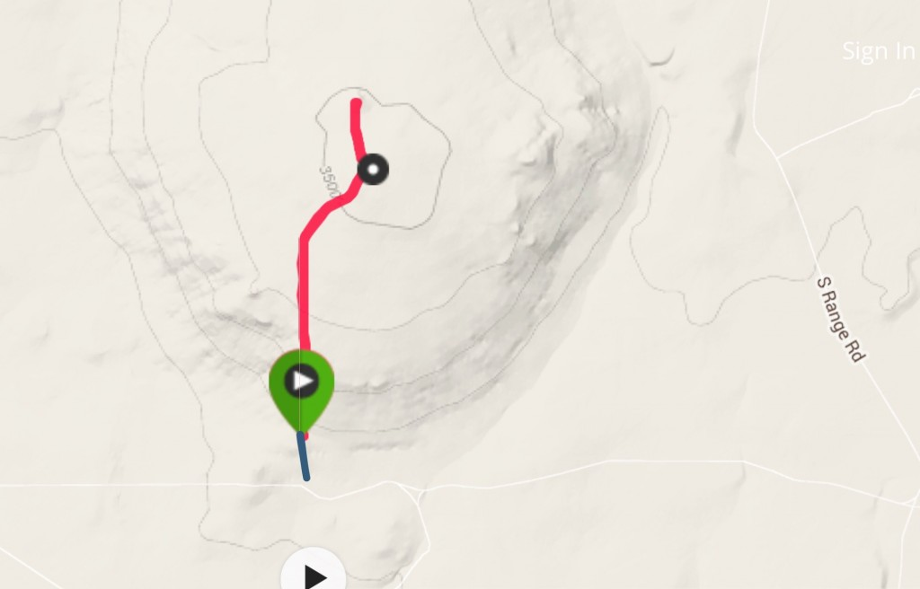 This is my GPS track (red). This map does not show the roads leading to the summit from the north and northeast which are better roads than I followed. The blue line shows a road I found lowed to my starting point. It was rough with one one big dust bog. I would not drive it again.
