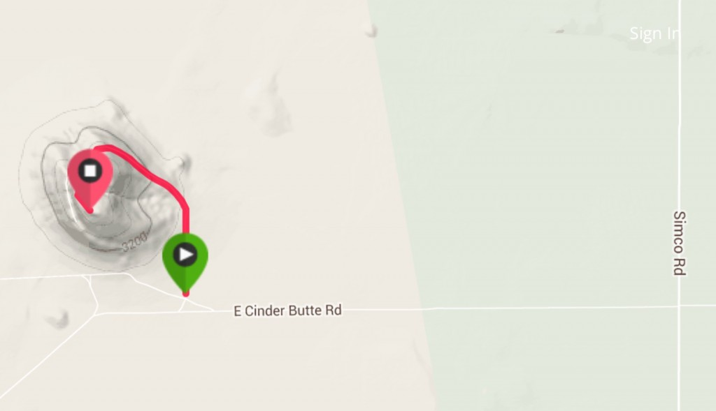 My GPS track. I only rode the last 0.8 miles to the top as I had three other butte's on my list for the day.
