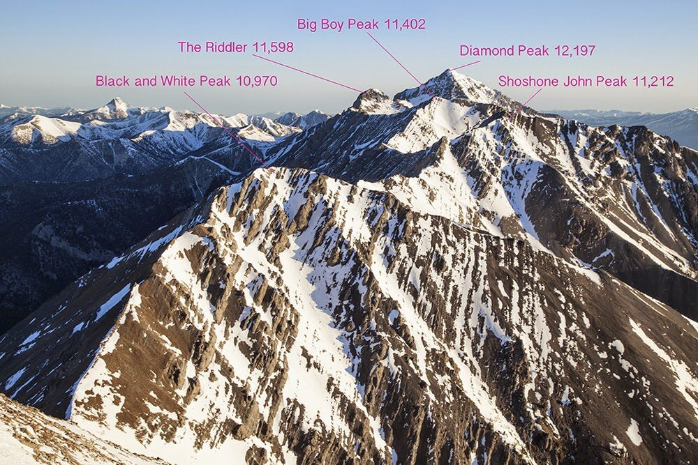 The biggest Lemhi peak, Diamond Peak and its neighbors, from Little Diamond Peak. Larry Prescott Photo