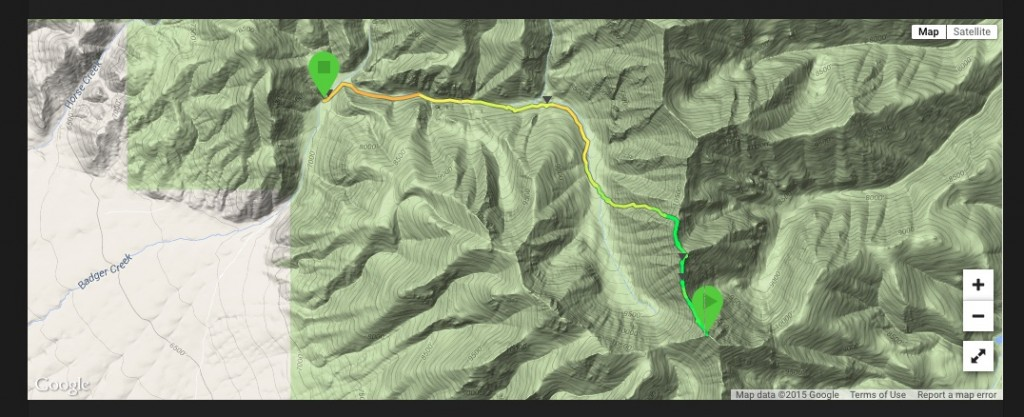 Larry Prescott's GPS track from the summit to the Badger Creek trailhead.