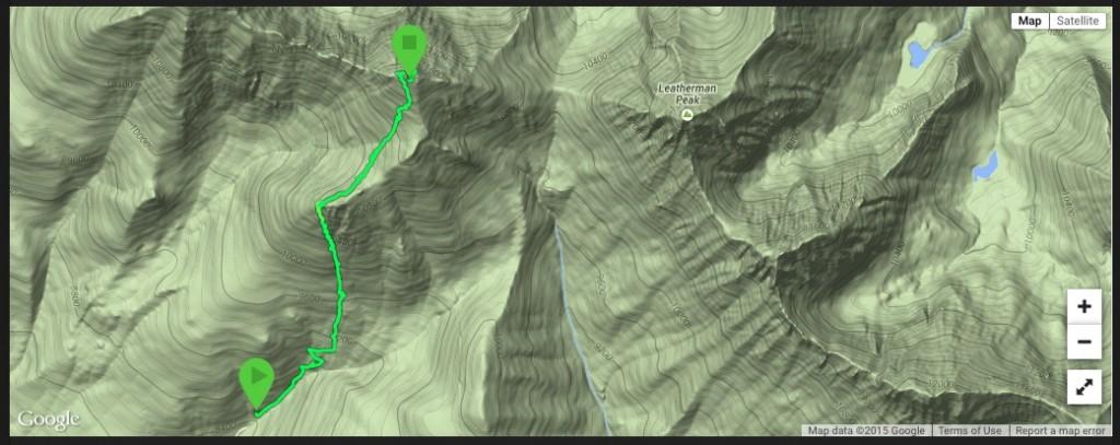 Larry Prescott's GPS track for his April, 2015 climb.