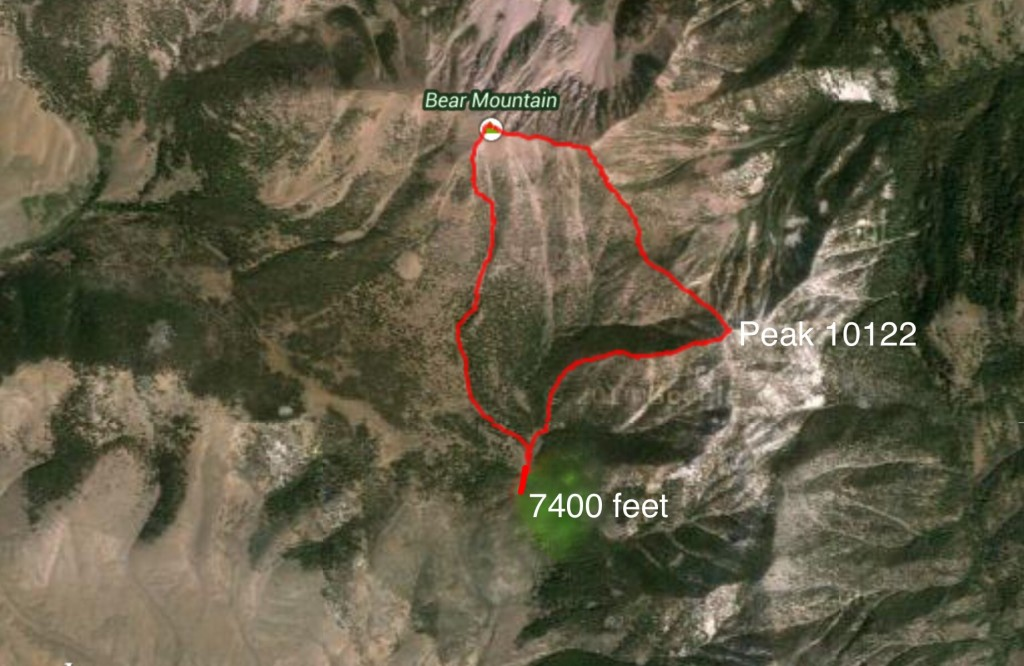 My GPS track for Peak 10122 and Bear Mountain.