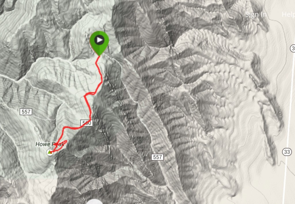 My GPS track from the saddle to the summit.