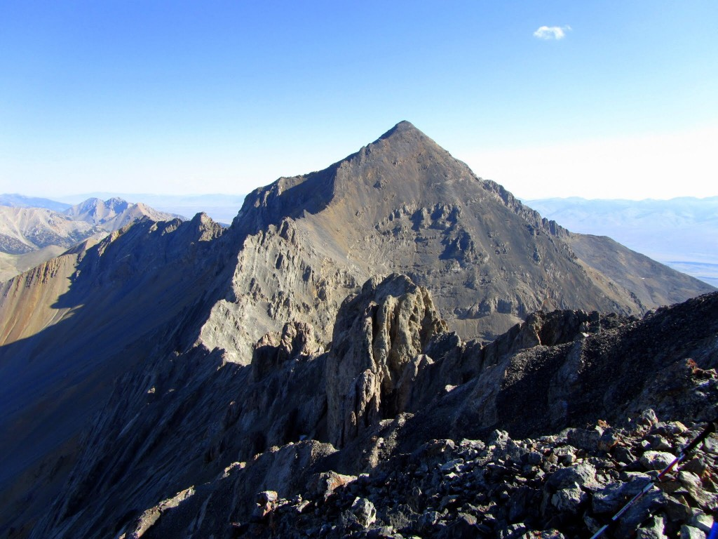 Looking from the Riddler to Diamond Peak. This ridge has been traversed but I do not know the details. George Reinier Photo