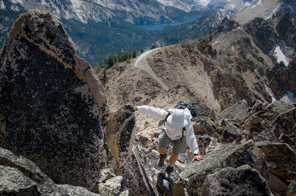 A little scrambling on the west ridge. Andrew Chiles Photo.