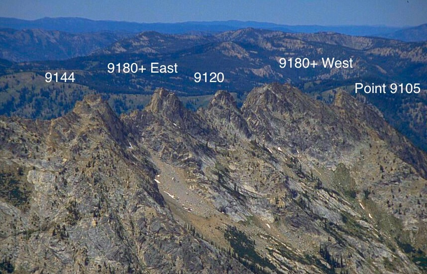 The five summits running from east (on the right) to west.