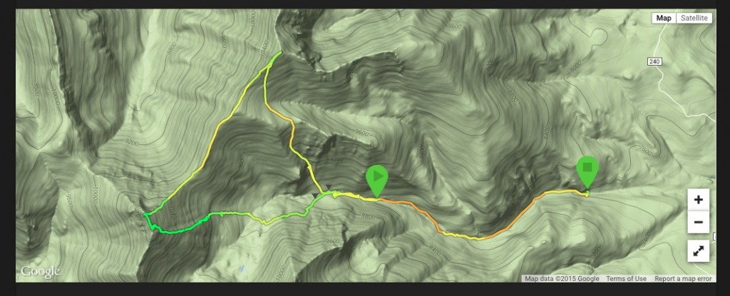 Larry's GPS track for his ascent of the Brow.