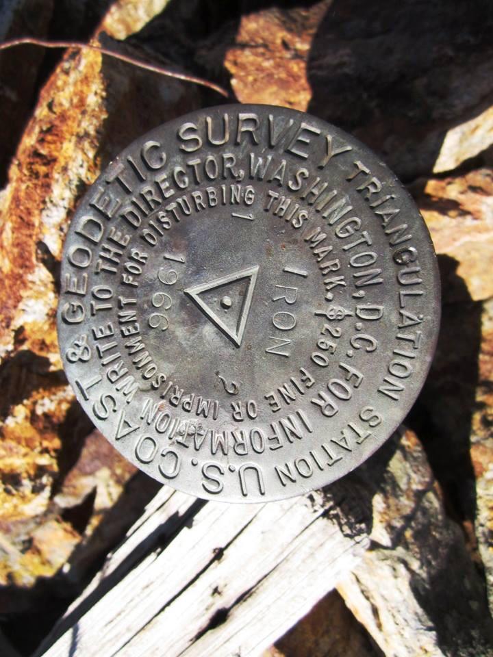 The survey marker on the summit. Ray Brooks Photo