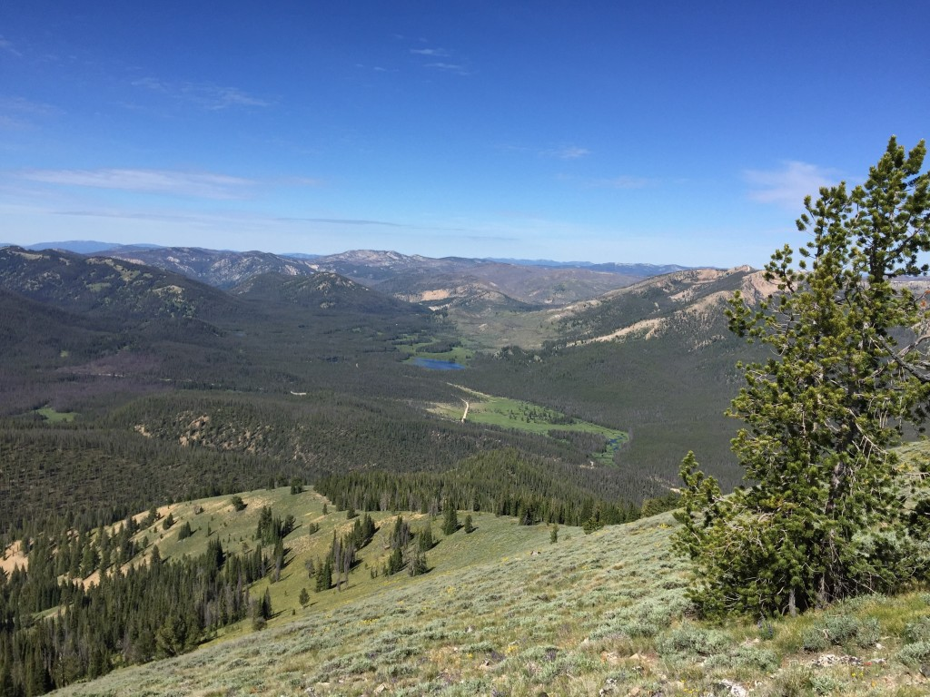 There is a lot to see from the summit including the Salmon River Mountains to the north and west, the Sawtooth Mountains to the east and south and the White Cloud Peaks to the east. This shot looks back down the southwest ridge.