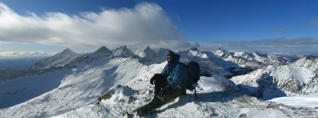 Winter panorama of the central Pioneers from the summit of The Box.  Matt Durrant Photo.