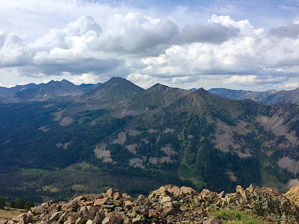 The view across Lake Creek from the summit. Atlas Peak is in the middle.