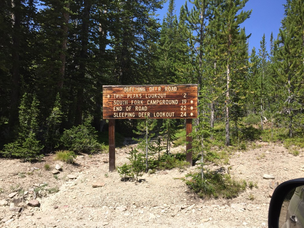 The sign at the junction where the road to South Twin Peak forks off the Sleeping Deer Mountain Road.