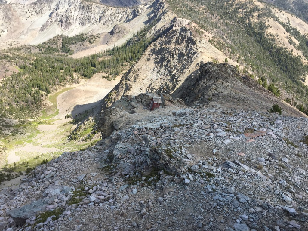The east ridge of Sleeping Deer Mountain. The trail climbs up the slope on the left side of this photo.