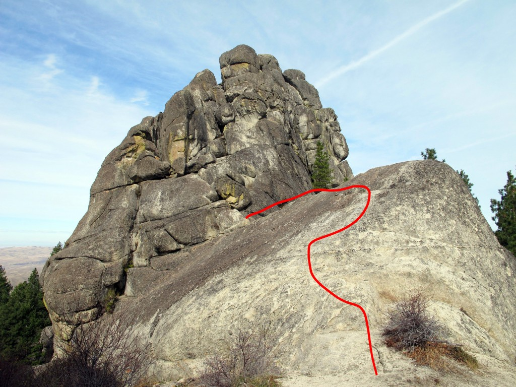 The Standard Route begins by climbing and crossing this slab.
