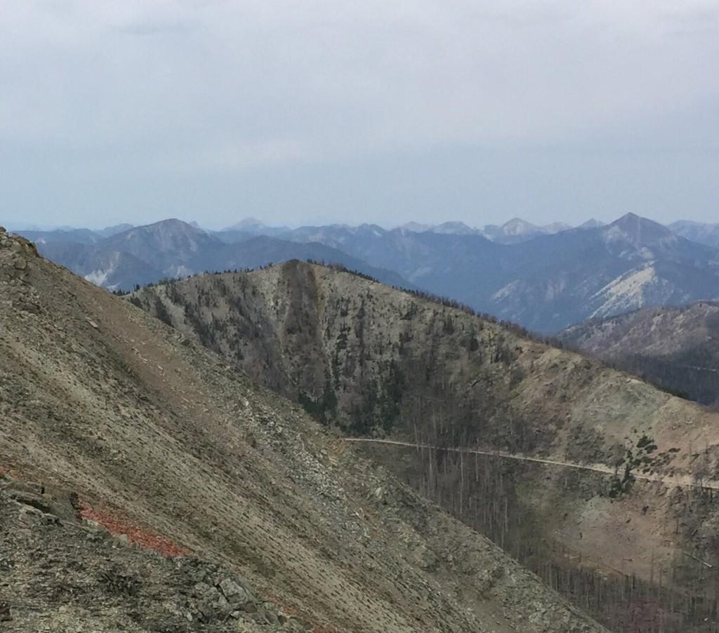 Peak 9598 viewed from Peal 9740. Note the Sleeping Deer Mountain Road traversing the peak's northern slopes.