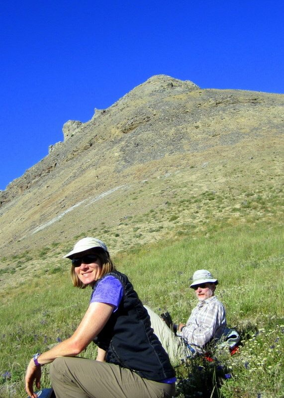 Carl and Deborah on the summit ridge. Deb Rose Photo