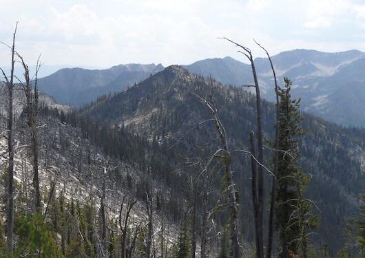 Peak 8380 (Ho Peak) viewed from Peak 8380 (Hum Peak). John Platt Photo