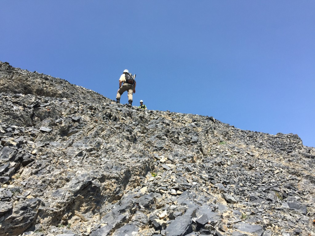 Larry Prescott ascending from the top of the gully to the summit ridge.