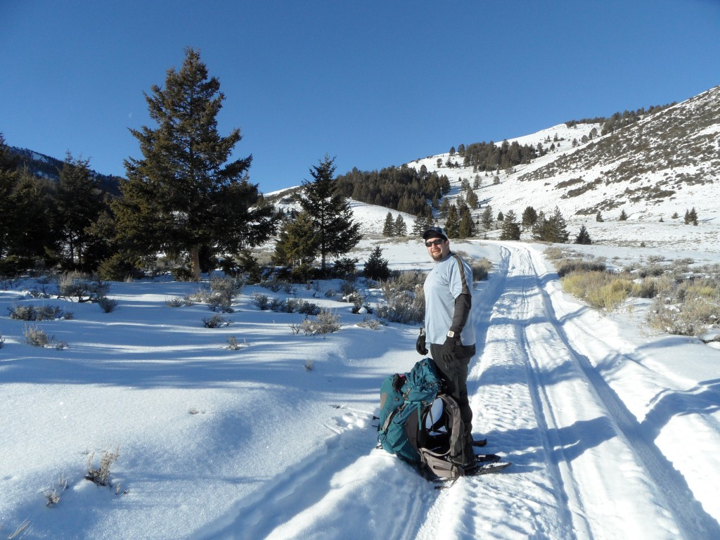 Dan Robbins on the Spring Mountain Canyon Road during a winter ascent of Big Windy Peak. John Platt Photo