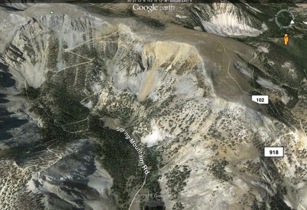 This Google Earth image shows the upper portion of the Spring Mountain Canyon Road. The Quartzite Canyon Road is off,the image to the left.