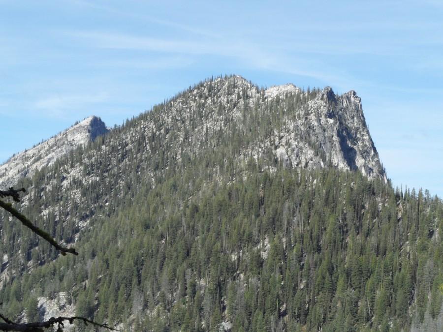Peak 8409 (Hum #5) Is on the right and unclimbed Hum #4 is on the left. John Platt Photo