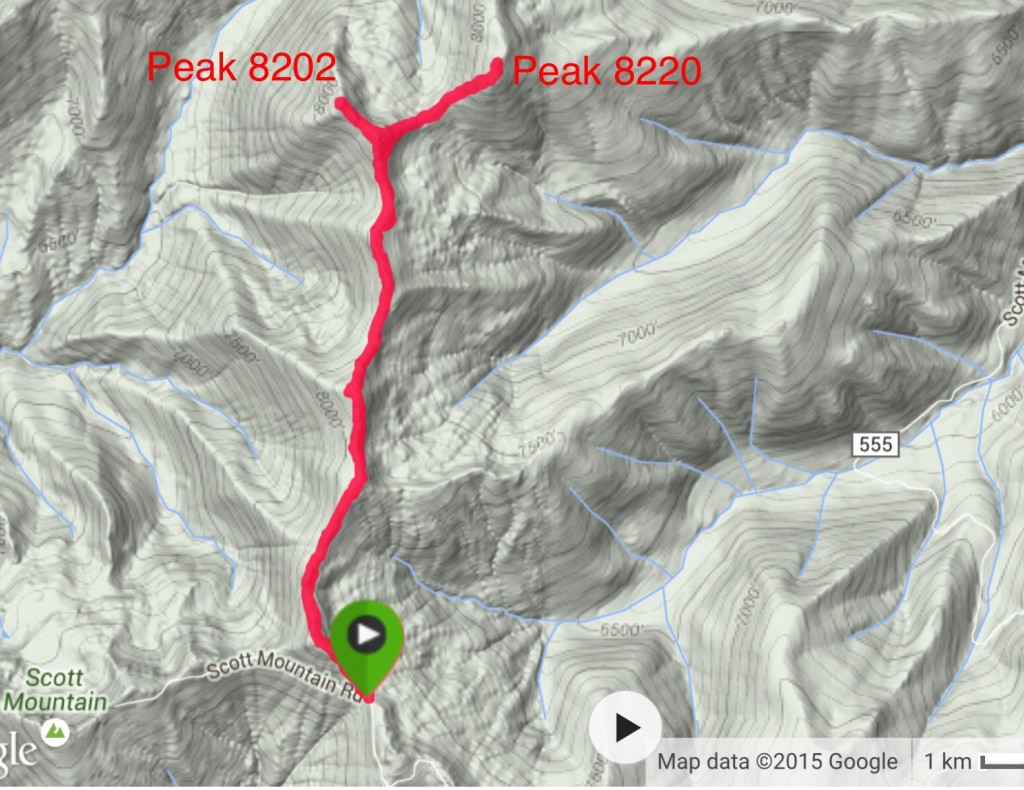 My GPS track for Peaks 8220 and 8202.