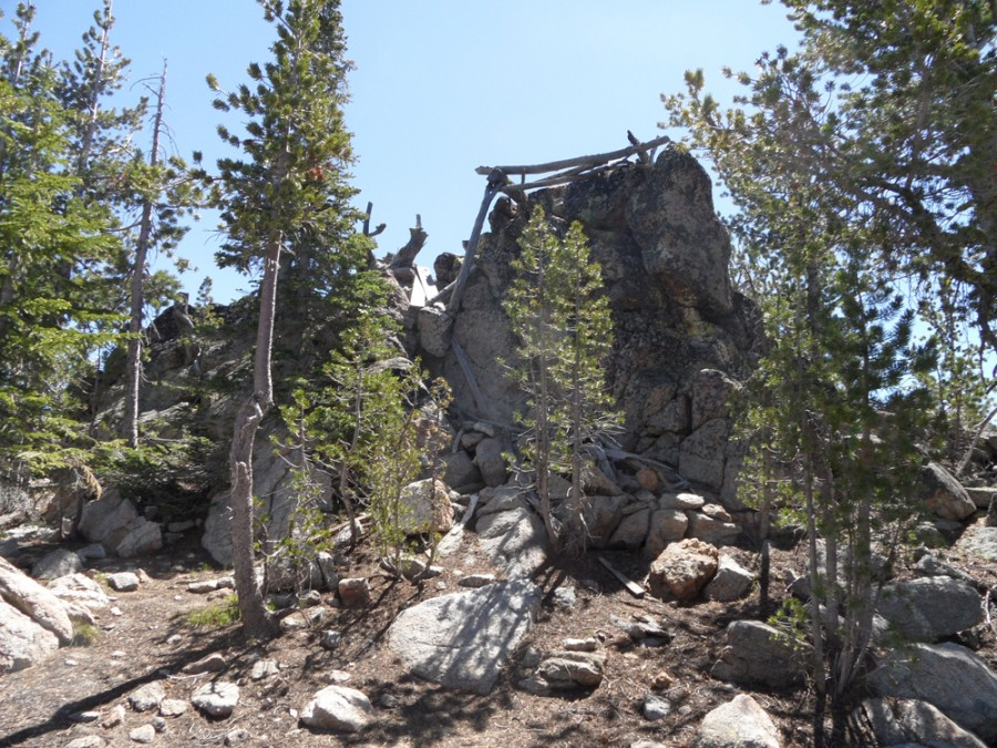 The remains of a fire lookout crown the peas highest point