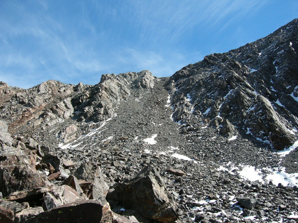 Climb up this scree slide to get to the ridge.