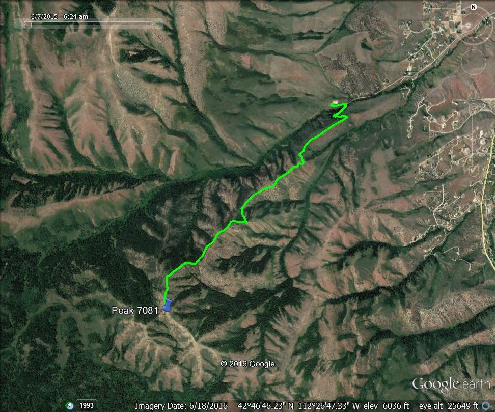 Peak 7081 approach. GPS track - Margo Mandella
