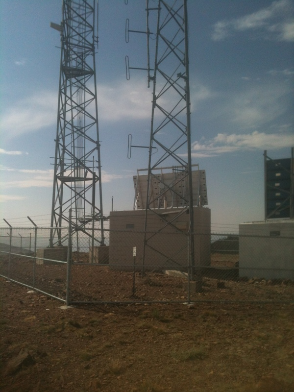 The summit of Hayden Peak is reached by a road which services this antenna array.