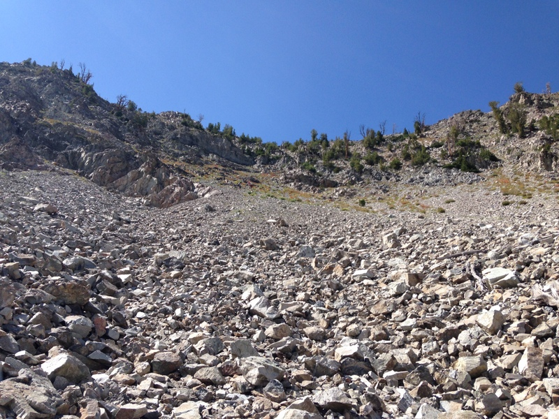 This is a view of the headwall from two thirds of the way down. The descenty gully (shown in the next photo) is just right of center at the top of the headwall.