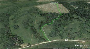 Route to the summit of Peak 6582. Margo Mandella track.