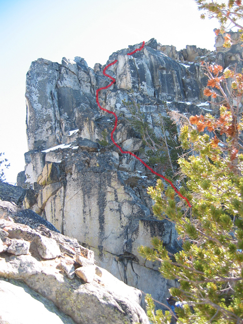 The Class 3/4 crux on the peak's summit Block. John Platt Photo