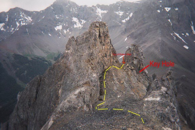 Looking from the summit down the upper route. The West Tower is roughly 25 feet lower than the summit.