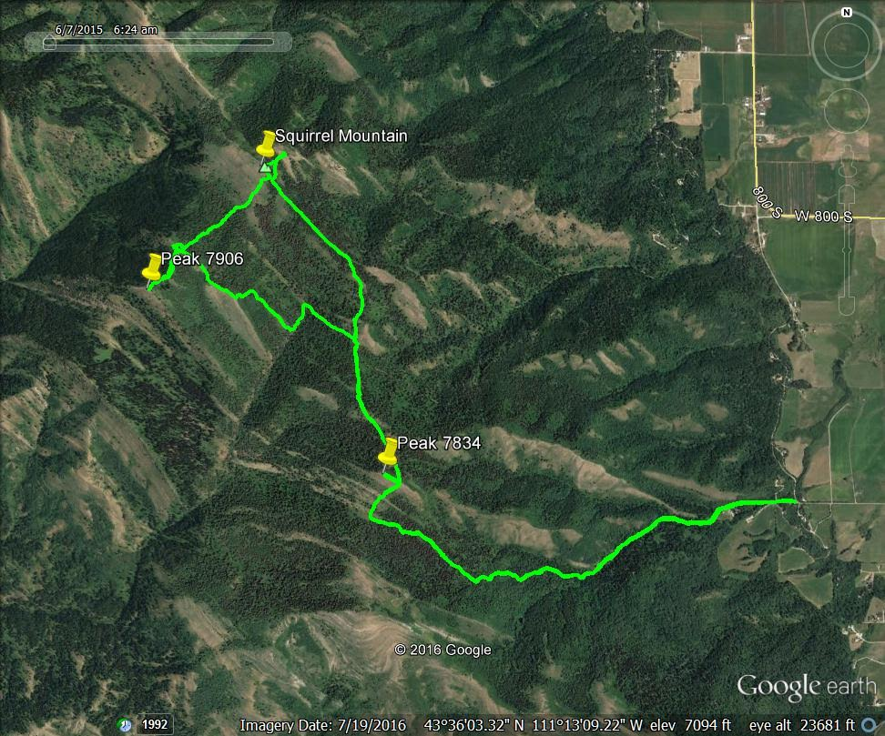 GPS track off a loop route for Squirrel Mountain, Peak 7834 and Peak 7906. Steve Mandella Photo.